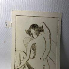 Arte: DIBUJO EN HUECOGRABADO··· MUJER DESNUDA DE ESPALDAS ··· 19 CMS X 28 CMS. POSIBLEMENTE DE J. M. MAGRO. Lote 205176558