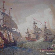Arte: GRABADO CROMOLITOGRAFICO GALEONES Y NAVÍOS ESPAÑOLES SIGLO XVII, BARCELONA,1880, ORIGINAL,PUJADAS. Lote 205402138