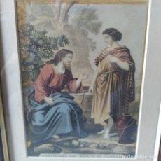 Arte: GRABADO ILUMINADO A MANO DE JESÚS Y LA SAMARITANA DEL SIGLO XIX. Lote 205402718