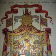 Arte: PAREJA GRABADOS CROMOLITOGRAFICOS, ESCUDOS PROVINCIAS ESPAÑA, BARCELONA,1882, ORIGINAL, PUJADAS .. Lote 205406630
