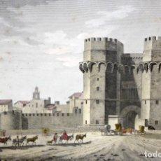 Arte: LITOGRAFIA ILUMINADA DE LA VISTA DE LA PUERTA DE SERRANOS DE VALENCIA. AÑO 1808. Lote 205518035