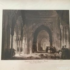 Arte: GRANADA. VESTÍBULO DE LA SALA DEL JURAMENTO. DIBUJO DE DAVID ROBERTS, 1825. GRABADOR ANDRES MIR.. Lote 205671652