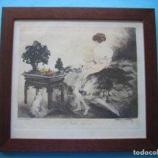 Arte: GRABADO AGUAFUERTE - LOUIS ICART - EL JARDIN JAPONES - FIRMADO Y PUBLICADO EN L'ILLUSTRATION EN 1932. Lote 205724861