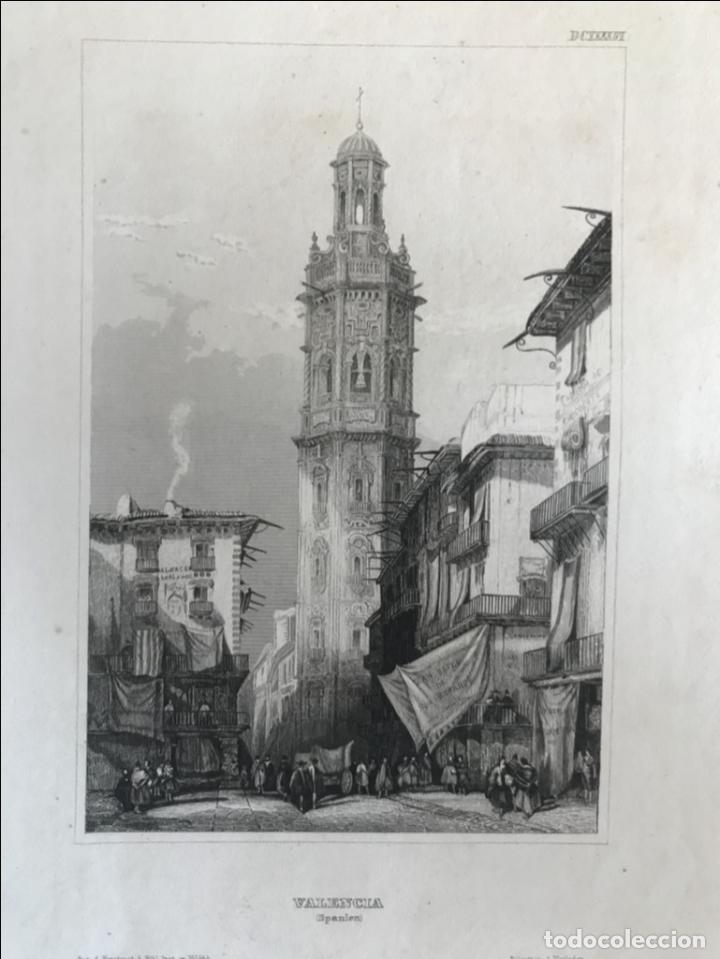 TORRE BARROCA DE SANTA CATALINA DE VALENCIA (ESPAÑA), HACIA 1850. BIBLI. INST. IN HIDBURGHANSEN (Arte - Grabados - Modernos siglo XIX)