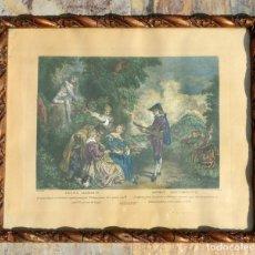 Arte: ANTIGUO GRABADO COLOREADO - ANTOINE WATTEAU - 1734 - LECCIÓN DE AMOR - MOLDURA DE MADERA RIZADA. Lote 205823845