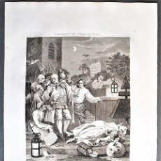 Arte: WILLIAM HOGARTH, DESIGNED - T. COOK, ENGRAVE. CRUELTY IN PERFECTION.. Lote 205825387