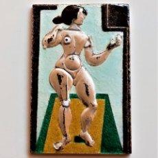 Arte: JOAN MIRO EN PLATA 999.9 PLACA LINGOTE - DESNUDO DE PIE - ESMALTADO A COLOR - 40X60.MM - 51.18.GR.. Lote 205861220