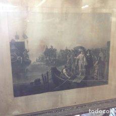 Arte: GRAN GRABADO ANTIGUO FRANCES SIGLO XIX...MARCO ANTIGUO DE MADERA Y TRASERA DE TABLILLA. Lote 206316177