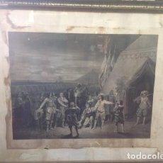 Arte: GRAN GRABADO ANTIGUO FRANCES SIGLO XIX. MARCO ANTIGUO DE MADERA Y TRASERA DE TABLILLA. Lote 206316573