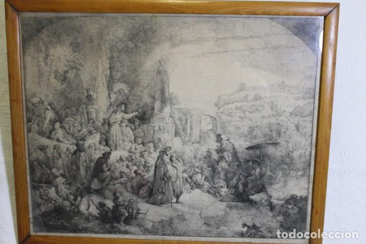 REMBRANT , JESUCRISTO PREDICANDO, S.XVII, FIRMADO (Arte - Grabados - Antiguos hasta el siglo XVIII)