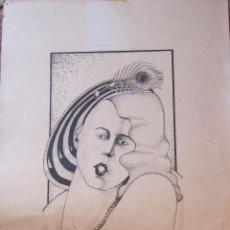 Arte: A. MORTES. FIGURA FEMENINA. BARCELONA 1980. 70 X 33 CM. FIGURA 55 X 19CM. FIRMADA Y FECHADA. Lote 206524667