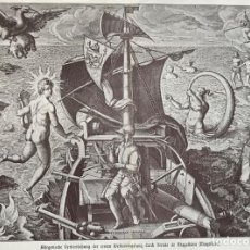 Arte: ALEGORÍA DE LA NAVEGACIÓN, 1522. GRABADO ORIGINAL DE 1903. KRAMER. Lote 206874610