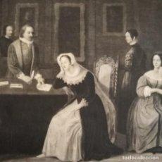 Arte: ANTIGUO GRABADO INGLÉS DE MARIA ESTUARDO CEDIENDO EL TRONO A SU HIJO, SIGLO XVIII. Lote 206910798