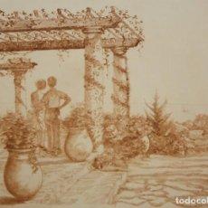 Arte: ILEGIBLE. GRABADO CON TIRAJE Nº99/102. PATIO CON FIGURAS. Lote 207195107