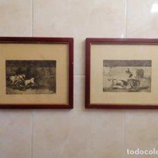 Arte: GOYA GRABADOS DE SU OBRA TAUROMAQUIA - DOS LAMINAS ENMARCADAS TAL FOTOS. Lote 207551307