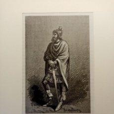 Arte: GRABADO LITOGRAFIA XIX 1890 DEL REY DE LEÓN RAMIRO II. Lote 207656211