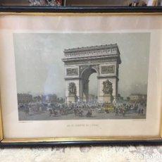 Arte: GRABADO COLOR HÚSARES ARCO DEL TRIUNFO DE L'ETOILE BENOIST PARÍS 1860 38 X 49 CM. Lote 207760981