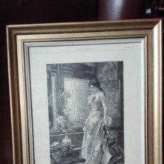 Arte: MUJER ESTRIVADA EN UNA SILLA GRABADOS SIGLO 19 DEL LIBRO DE LA ILUSTRACIÓN ARTÍSTICA. Lote 207959792