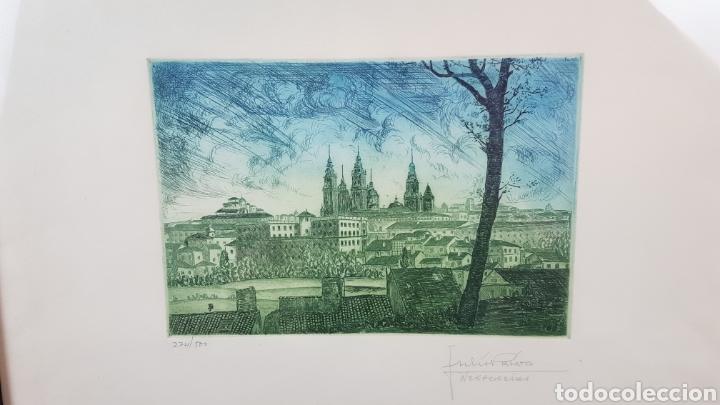 Arte: Grabado de Julio Prieto Nespereira de las vistas de la Catedral de Santiago de Compostela. - Foto 2 - 208019016