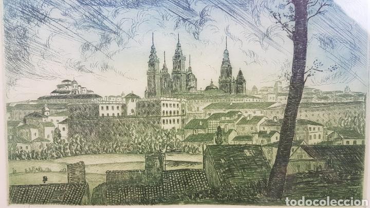 Arte: Grabado de Julio Prieto Nespereira de las vistas de la Catedral de Santiago de Compostela. - Foto 5 - 208019016