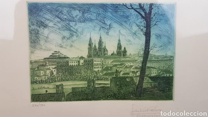 Arte: Grabado de Julio Prieto Nespereira de las vistas de la Catedral de Santiago de Compostela. - Foto 9 - 208019016