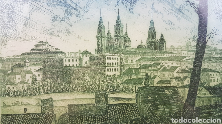 Arte: Grabado de Julio Prieto Nespereira de las vistas de la Catedral de Santiago de Compostela. - Foto 10 - 208019016