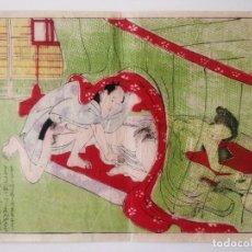 Arte: MAGISTRAL GRABADO ORIGINAL JAPONÉS ERÓTICO DE MEDIDADOS DEL SIGLO XIX, SHUNGA, MUY RARO, OCASIÓN. Lote 208245565