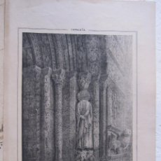 Arte: MONASTERIO DE RIPOLL. PUERTA DE LA IGLESIA. LITOGRAFIA. HACIA 1850. PAPEL 31 X 20,5 CM. Lote 208284452