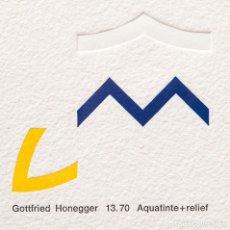Arte: GOTTFRIED HONEGGER - 13.70 AQUATINTE + RELIEF - AGUATINTA Y GOFRADO DE 1976. Lote 208355261