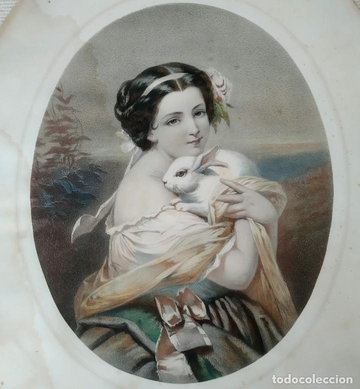 Arte: Litografía grabado Art Deco, del siglo 19 - Foto 2 - 208411526