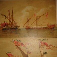 Arte: GRABADO CROMOLITOGRAFICO GALERAS Y GALEAZA ESPAÑOLES SIGLO XVI, BARCELONA,1880, ORIGINAL,PUJADAS. Lote 208760012