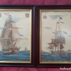 Arte: 2 CUADROS ANTIGUOS, BARCOS, DEL SIGLO 19. Lote 209347820