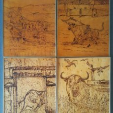 Arte: LOTE PIROGRABADOS EN MADERA TAURINOS FIRMADO AF. Lote 209649557