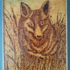 Arte: PIROGRABADO EN MADERA LOBO FIRMADO AF. Lote 209649671