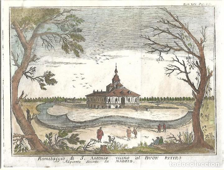 GRABADO DEL SIGLO XVIII. LA ERMITA DE SAN ANTONIO EN EL BUEN RETIRO, MADRID. (Arte - Grabados - Antiguos hasta el siglo XVIII)