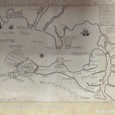 Arte: MAPP THE BAY AND TOWNE OF CADIZ. FORTALEZAS DE CADIZ EN EL AÑO 1702. VER FOTOS. Lote 210099470