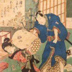 Arte: EXCELENTE GRABADO ORIGINAL DE MAESTRO TOYOKUNI III UTAGAWA 1786-1865, MUY BUEN ESTADO, GRAN CALIDAD. Lote 210108945