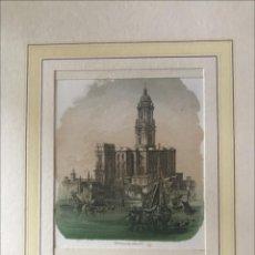Arte: VISTA DE LA CATEDRAL DE MÁLAGA (ESPAÑA), HACIA 1850. ANÓNIMO. Lote 210181902