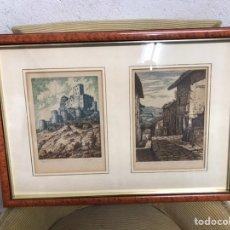 Arte: PAREJA DE GRABADOS/AGUAFUERTE FIRMA DOS POR MANUEL CASTRO GIL (1891-1961). Lote 210281000