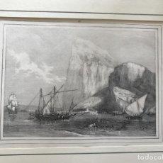 Arte: VISTA PARCIAL DEL PEÑÓN DE GIBRALTAR Y BARCOS (SUR DE ESPAÑA), HACIA 1840. ANÓNIMO. Lote 210338585