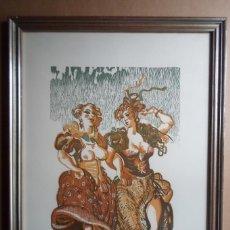 Arte: ANTONIO ZARCO (MADRID 1930) LINOGRAFÍA Y XILOGRAFÍA 34X25 PAPEL 48X38 MARCO 42X53 DE 1980 FIRMA Y PA. Lote 210425806