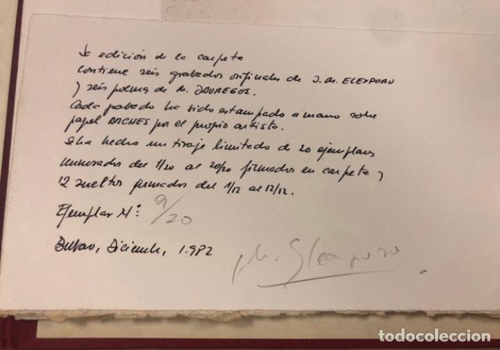 PORTFOLIO 6 GRABADOS ORIGINALES DE J.M. ELEXPURU Y 6 POEMAS DE M. JAUREGUI ESTAMPADOS A MANO (Arte - Grabados - Contemporáneos siglo XX)