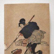 Arte: EXCELENTE GRABADO JAPONÉS ORIGINAL DEL MAESTRO KUNIYOSHI (1797-1861) SIGLO XIX RETRATO GEISHA. Lote 210679202