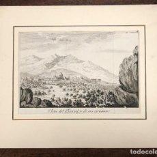 Arte: GRABADO VISTA DEL ESCORIAL Y DE SUS CERCANIAS. SIGLO XVIII. Lote 210841321