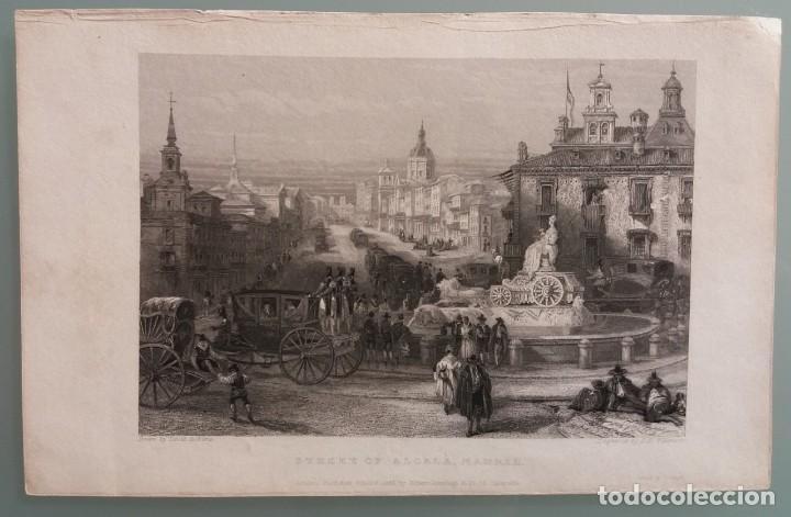 Arte: Dos grabados de David Roberts. 1.- Calle De Alcalá (Cibeles). 2.- Puerta De Fuencarral - Foto 2 - 41261125