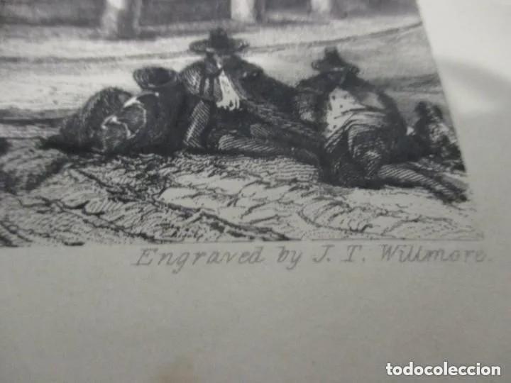 Arte: Dos grabados de David Roberts. 1.- Calle De Alcalá (Cibeles). 2.- Puerta De Fuencarral - Foto 4 - 41261125