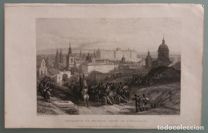 Arte: Dos grabados de David Roberts. 1.- Calle De Alcalá (Cibeles). 2.- Puerta De Fuencarral - Foto 6 - 41261125