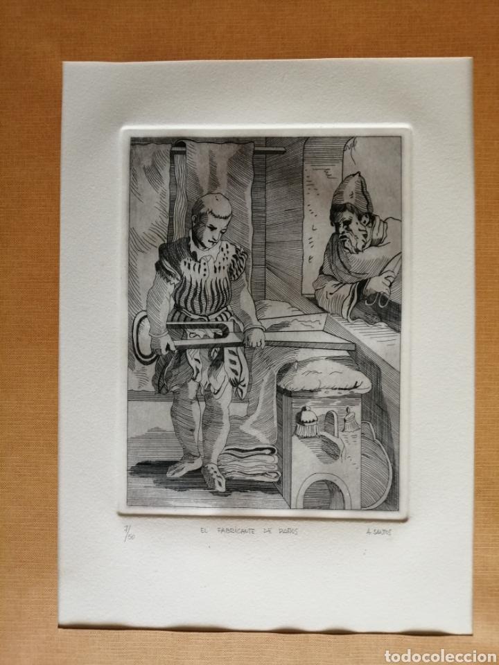 Arte: A. Santos ( Ángeles Santos?). Grabado firmado, titulado y numerado. - Foto 3 - 211413646