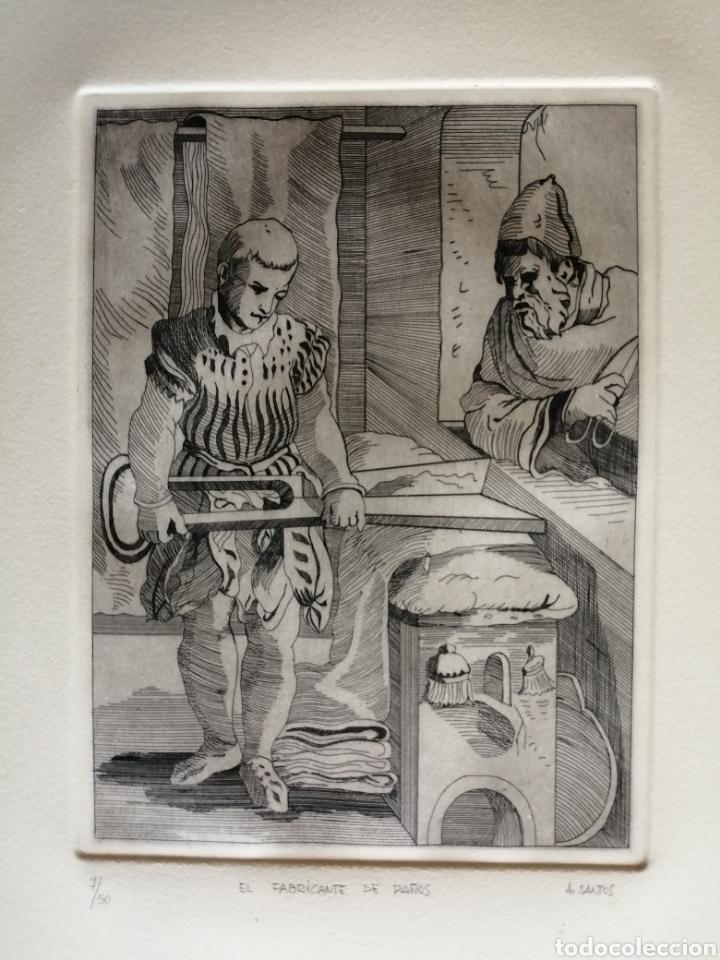 A. SANTOS ( ÁNGELES SANTOS?). GRABADO FIRMADO, TITULADO Y NUMERADO. (Arte - Grabados - Contemporáneos siglo XX)