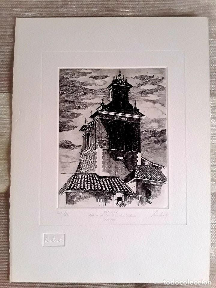GRABADO DE PACO CUADRADO (1939-2017). ESPADAÑA DE SAN JUAN DE LA PALMA. 163/225. FIRMADO.PERFECTO. (Arte - Grabados - Contemporáneos siglo XX)
